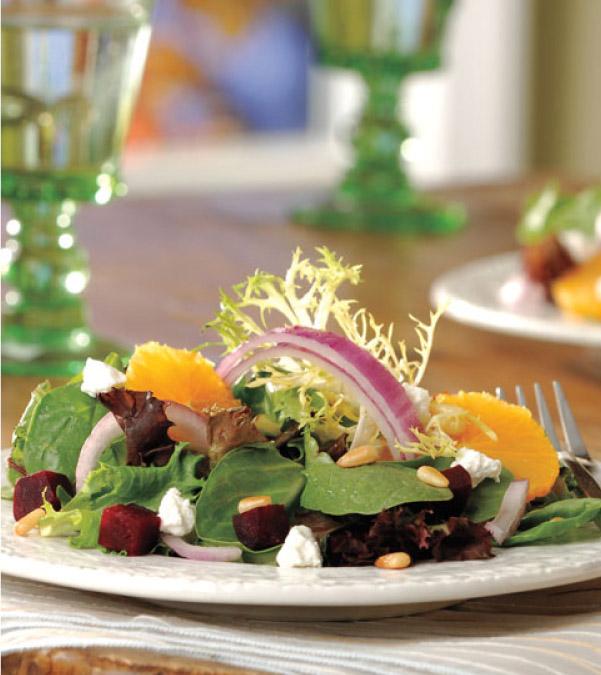 Beet, Orange & Chèvre Salad with Lemon-Chive Oil