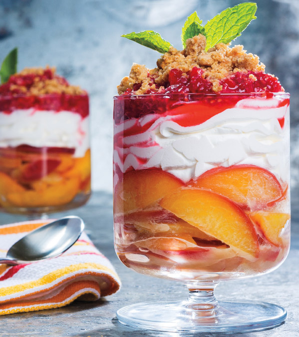 Brown Sugar Peach Parfait with Smashed Raspberries & Salted Graham Cracker Crumble