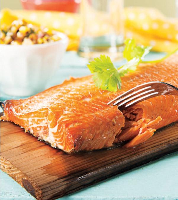 Cedar Planked Salmon with Jalapeño-Corn Salsa