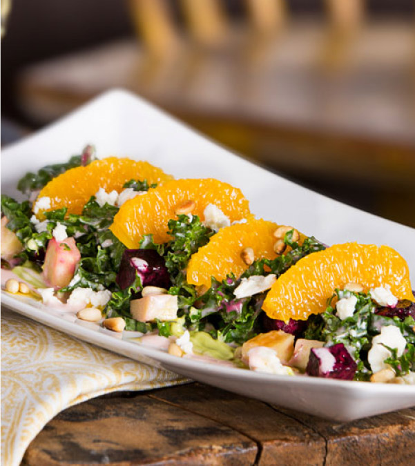 Earthy Vegetable & Kale Salad with Strawberry Vinaigrette<br />