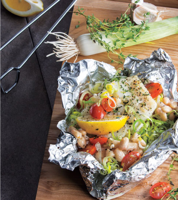 Grilled Cod, White Bean & Tomato Packets
