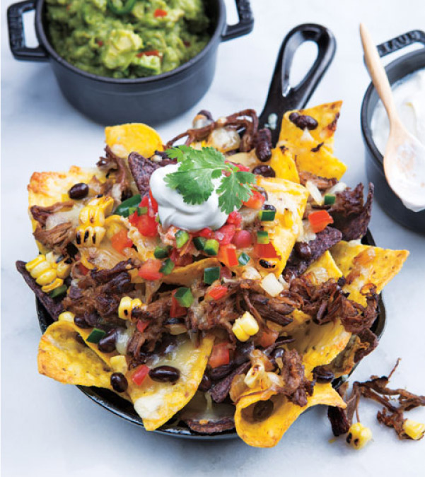 Slow Cooker Shredded Beef Skillet Nachos