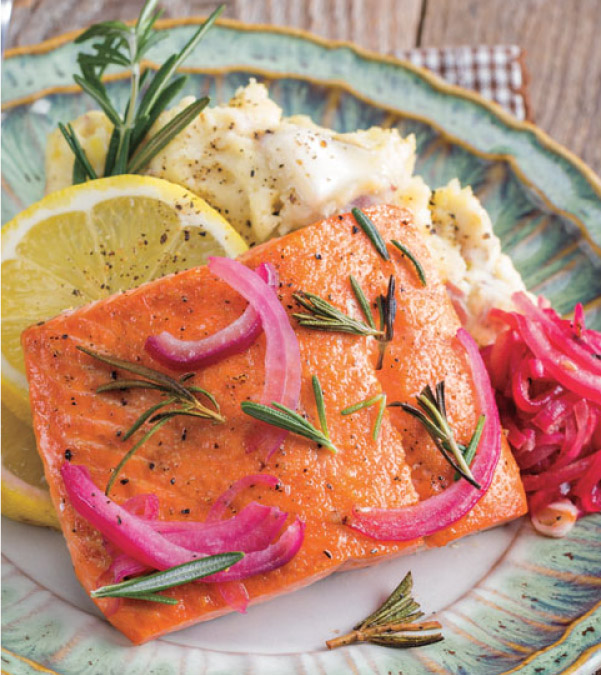 Broiled Salmon with Red Onion and Rosemary