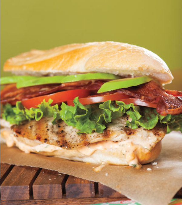 Grilled Chicken BLT with Basil Mayo