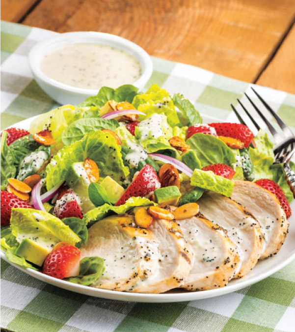 Grilled Chicken & Strawberry Salad with Poppy Seed Dressing