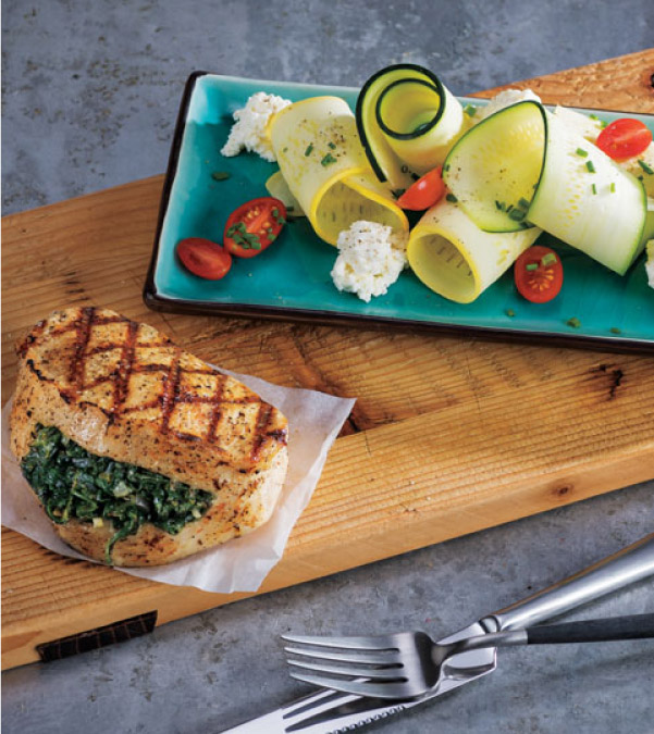 Grilled Lemon-Spinach Stuffed Pork Chops with Shaved Summer Squash & Tomato Salad