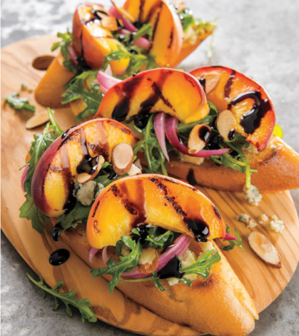 Grilled Peach, Arugula, Pickled Red Onion & Gorgonzola Crostini