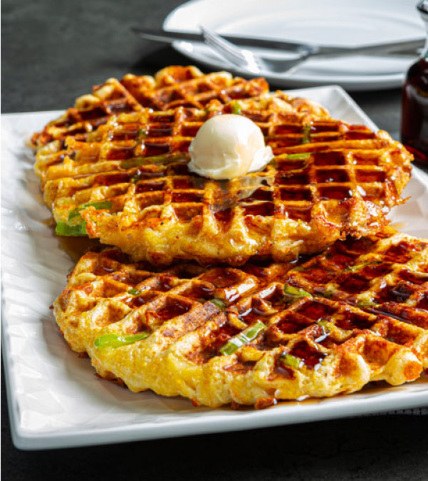 Hatch Chile & Cheese Cornbread Waffles