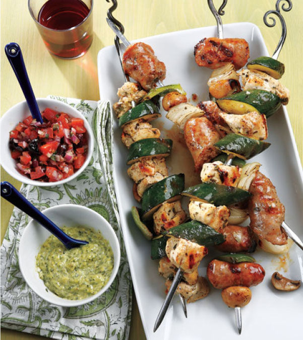 Italian Sausage, Pepper & Onion Kabobs