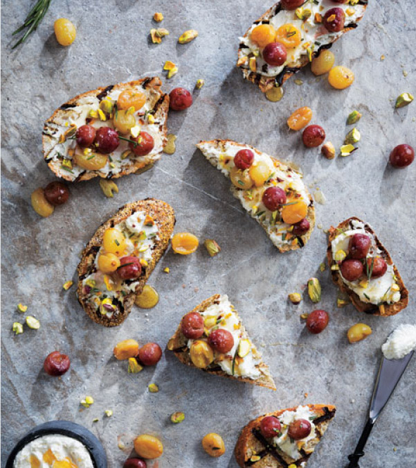 Roasted Grape & Goat Cheese Bruschetta