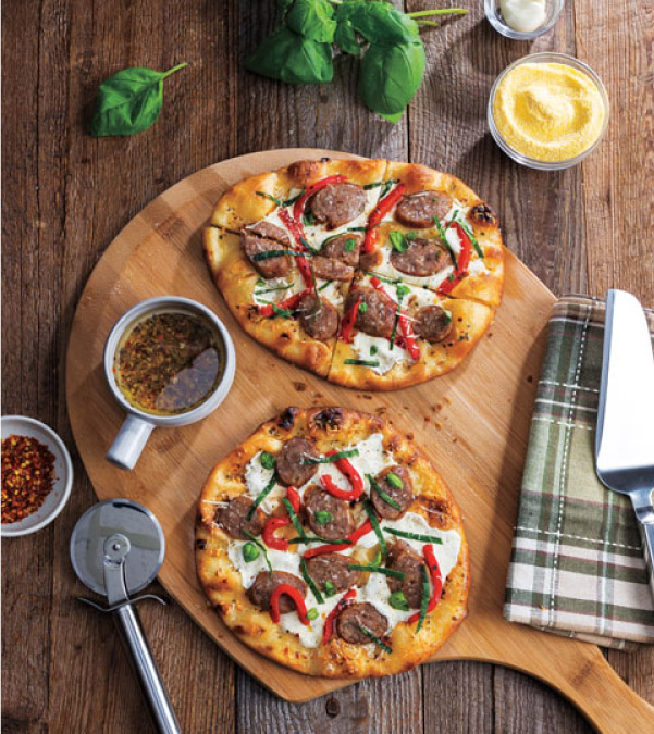 Sausage, Fresh Mozzarella & Roasted Red Pepper Naan Pizza